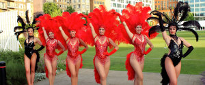 showgirl dancers at the livery masquerade ball