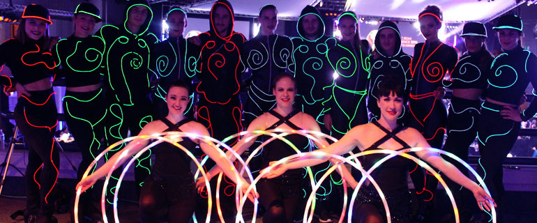 LED light show dancers