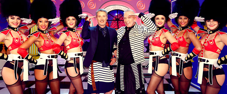 dancers saluting with John Paul Gaultier and Antoine De Caunes on the Eurotrash TV special