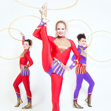 circus performers with hoops